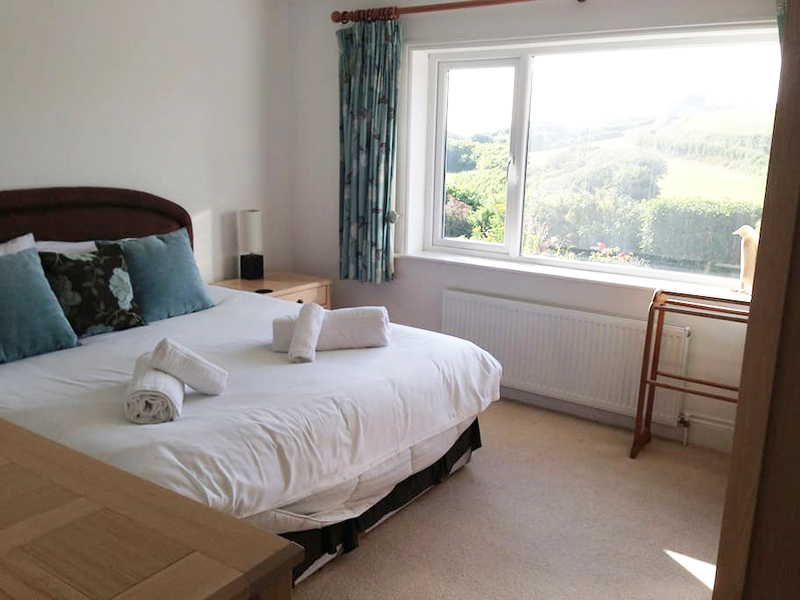 Double bedroom with stunning views at Hillside Cottage Padstow