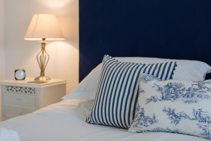 cottage interior blue striped:toile cushion